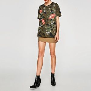 Zara Camouflage and Floral T-shirt Size Medium